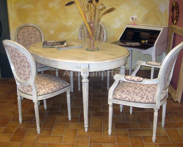 Tavolo ovale shabby chic artigianarte for Tavolo stile shabby