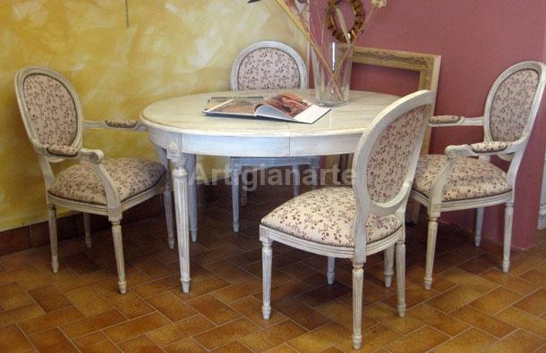 Tavolo ovale shabby chic - Artigianarte