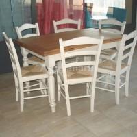 tavolo rettangolare allunghi, bicolore