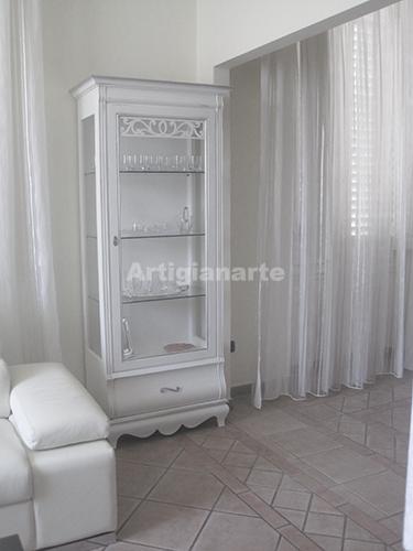 vetrina intaglio - artigianarte - Vetrina Soggiorno Bianca