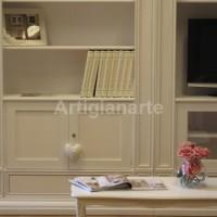 libreria stile impero bianca patinata
