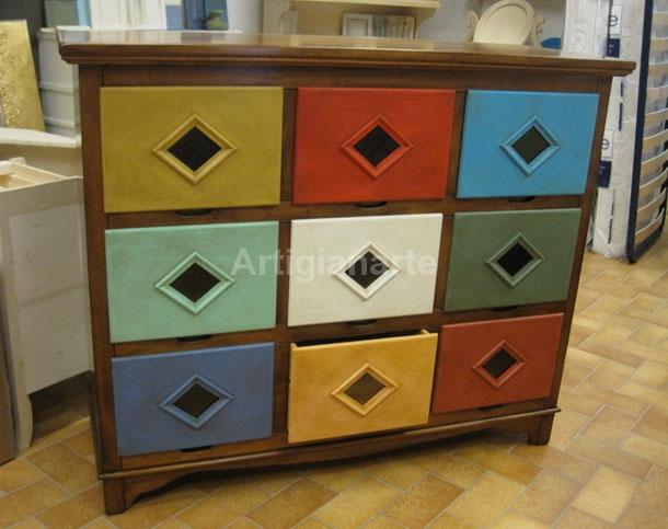 Cassettiera 9 cassetti artigianarte - Pomelli colorati per mobili ...