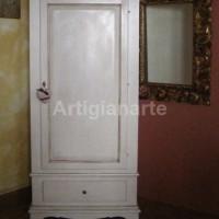armadio 1 anta dritto bianco con patina