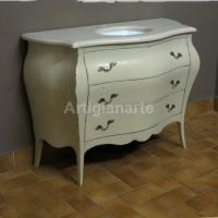 mobile bagno bombato piano in marmo